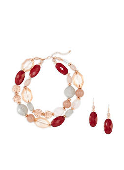Large Stone Necklace with Matching Drop Earrings - 3138059638700