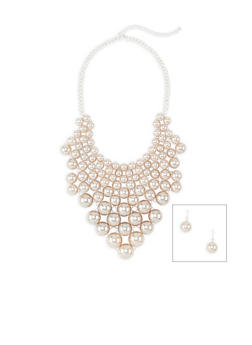 Faux Pearl Bib Necklace with Drop Earrings - 3138059638729