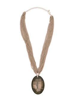 Multi Layer Chain Rhinestone Pendant Necklace - 3138059638846