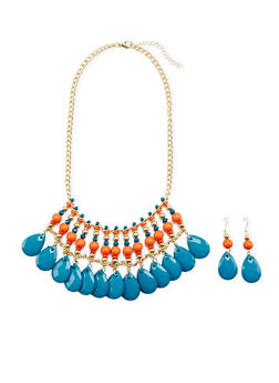 Multicolored Stone Necklace and Drop Earrings Set - 3138062810341