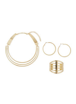 Hoop Earrings with Coil Necklace and Cuff Bracelet Set - 3138062810941