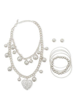Necklace with 6 Bracelets and Stud Earrings Set - 3138062811396