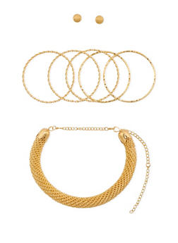 Collar Necklace with 5 Bangles and Stud Earrings Set - 3138062811745