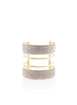 Multi Band Cuff Bracelet with Crystal Accents - 3138062812013