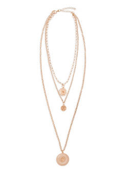 Round Layered Rhinestone Necklace - 3138062814110