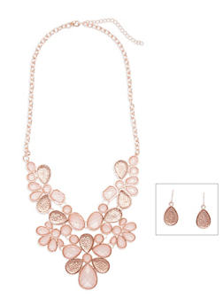 Floral Bib Necklace and Drop Earrings Set - 3138062816436