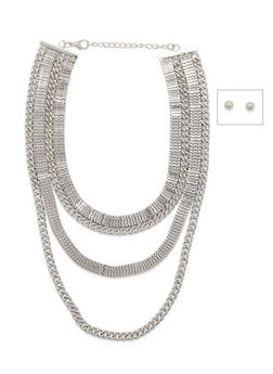 Multi Strand Necklace and Earrings Set - 3138062817336