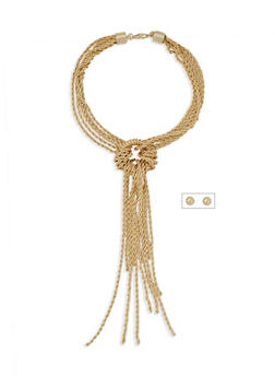 Chain Tassel Necklace and Earrings Set - 3138062818165