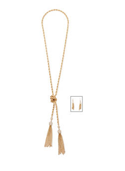 Knotted Rope Chain Tassel Necklace and Earrings - 3138062818293
