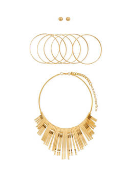 Collar Necklace with 6 Bangles and Stud Earring Set - 3138062819822