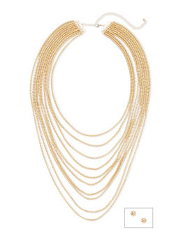 Faux Pearl Stud Earrings and Layered Necklace Set - 3138062921088
