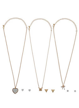 Bow Heart Layered Necklace - 3138062921433