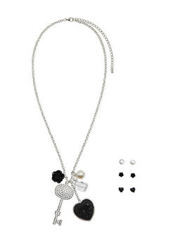 Assorted Stud Earrings and Charm Necklace Set - 3138062921620