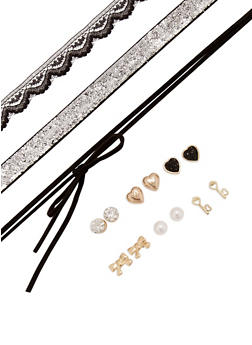 Assorted Set of Stud Earrings and Choker Necklaces - 3138062921705