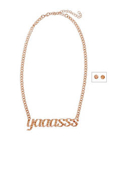 Yaaasss Curb Chain Necklace and Stud Earrings Set - 3138062921908