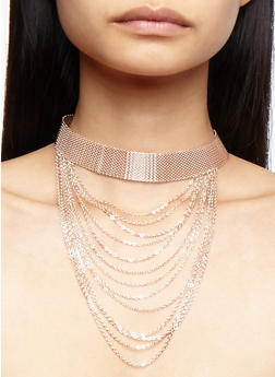 Metal Mesh Choker with Fringe and Matching Stud Earrings - 3138062922430