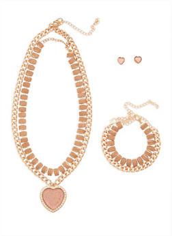 Glitter Heart Choker and Bracelet with Stud Earrings Set - 3138062922880