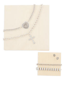 Heart Cross Necklace and Earrings with Matching Bracelets - 3138062922881