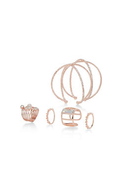 Criss Cross Cuff Bracelet with Rings - 3138062923188