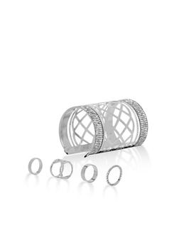 Rhinestone Cuff Bracelet with Rings - 3138062923192