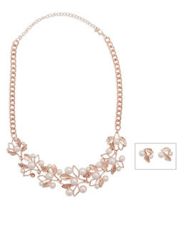 Faux Pearl Rhinestone Flower Necklace and Earring Set - 3138062923431