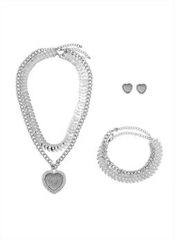 Heart Chain Necklace with Bracelet and Earrings Set - 3138062923947