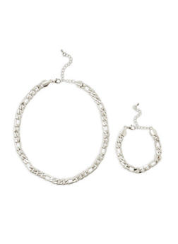 Curb Chain Necklace and Bracelet Set - 3138062924948