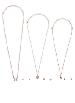 Set of 3 Rhinestone Necklaces with Stud Earrings - 3138062925196