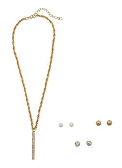 Set of 3 Stud Earrings and Necklace with Tassel Detail - 3138062925541