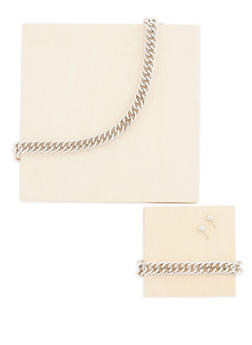 Curb Chain Necklace with Bracelet and Stud Earrings - 3138062925766
