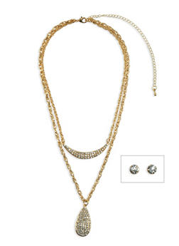 Tiered Necklace and Crystal Stud Earrings Set - 3138062925847