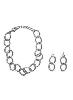 Chunky Chain Necklace and Matching Earrings Set - 3138062925884