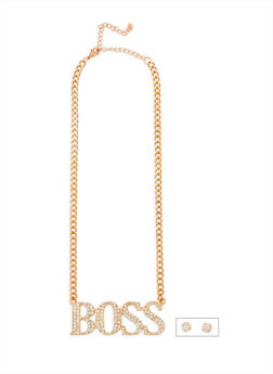 Boss Rhinestone Necklace and Stud Earrings - 3138062925941