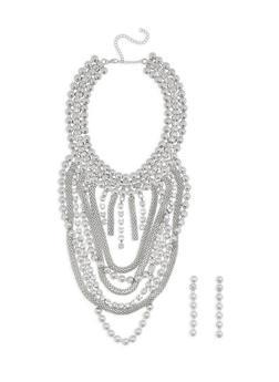 Jumbo Metallic Mesh Necklace and Drop Earrings - 3138062926360