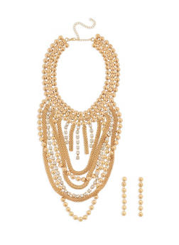 Jumbo Metallic Mesh Necklace and Drop Earrings - 3138062926360