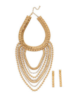 Jumbo Pyramid Metallic Necklace with Drop Earrings - 3138062926482