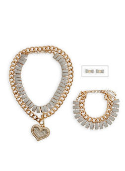 Glitter Chain Choker with Bracelet and Bow Stud Earrings Set - 3138062927161