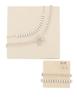 Bow Necklace and Earrings with Matching Bracelets - 3138062928407