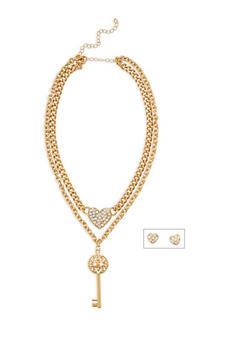 Rhinestone Key Heart Necklace and Stud Earrings - 3138062929504