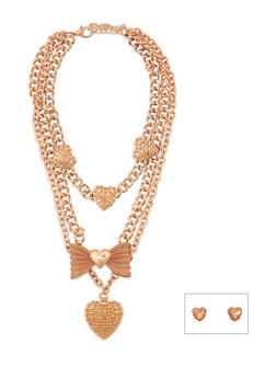 Metallic Bow Heart Chain Necklace and Stud Earrings - 3138062929505
