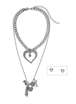 Two Row Tassel Rhinestone Heart Necklace and Earring Set - 3138062929537