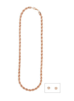 Chunky Metallic Rope Necklace - 3138062929558