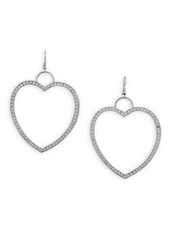 Roman Numeral Rhinestone Heart Earrings - 3138062929846