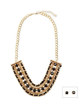 Woven Chain and Gemstone Necklace with Earrings - 3138067253315