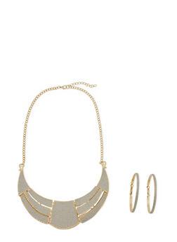 Glitter Hoop Earrings and Geo Necklace Set - 3138067254038