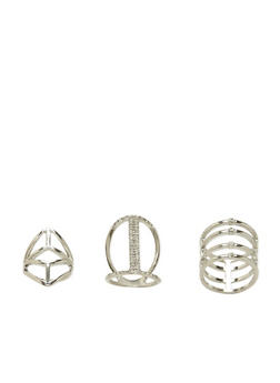 Set of 3 Rings with Crystal Accents - 3138069753340