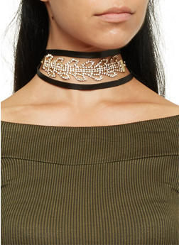 Rhinestone Choker Necklace with Faux Leather Ties - GOLD - 3138069754710