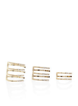 Set of 3 Stacked Geo Rings with Rhinestones - 3138069757582