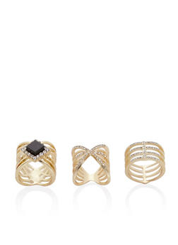 Set of 3 Stacked Rhinestone and Jewel Rings - 3138069757585