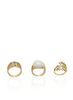 Set of 3 Rings with Crystals and Faux Gem Accents - 3138070430770